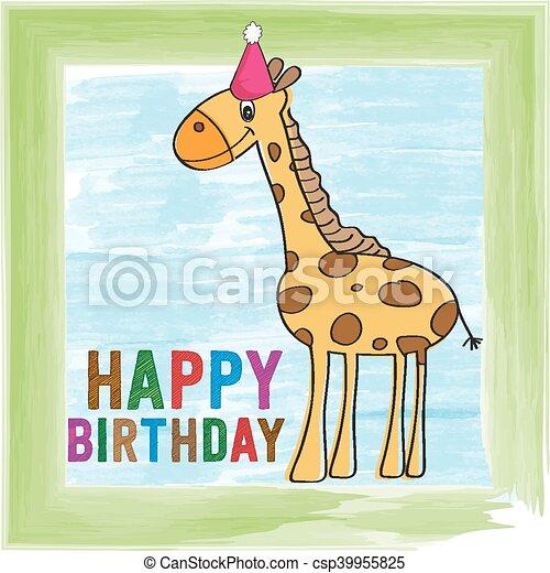 Childish Birthday Card With Giraffe Vector Format
