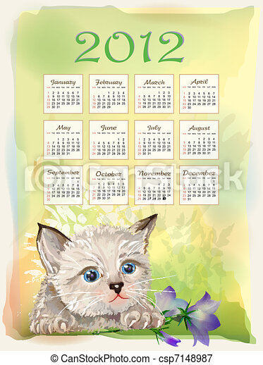 Childish calendar 2012.  Little fluffy kitten playing with bluebell. Watercolor style. - csp7148987