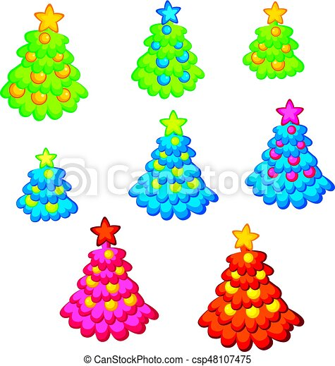 Childish Cute Christmas Tree Kid Style Little Decorated Holiday Trees On White Background Ornamented
