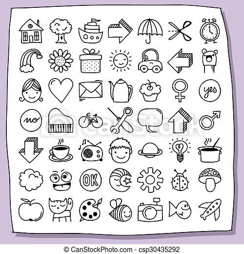 Childish doodle icon set - csp30435292