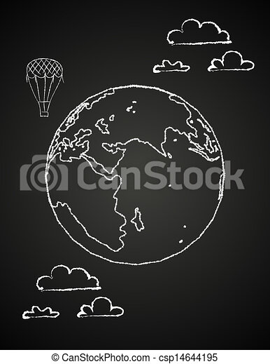 Childish drawing of a globe in chalck - csp14644195