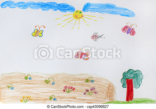 Childish drawing of tree and flying butterflies - csp43096827