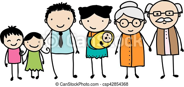 childish family doodle children s style drawing of a traditional rh canstockphoto com