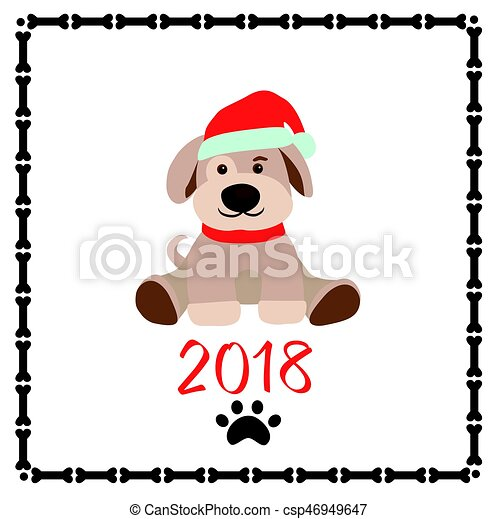 Childish funny paper applique with puppy for new year 2018 greeting.