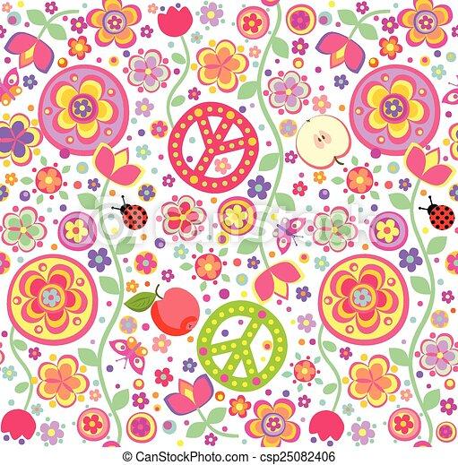Childish Hippie Wallpaper Vector Clipart