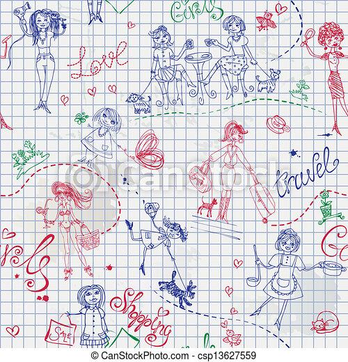 Childish style hand drawn seamless  - csp13627559