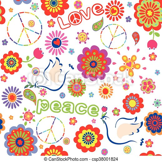 Childish wrapper with embroidered peace symbol, colorful abstract flowers,  and doves - csp38001824