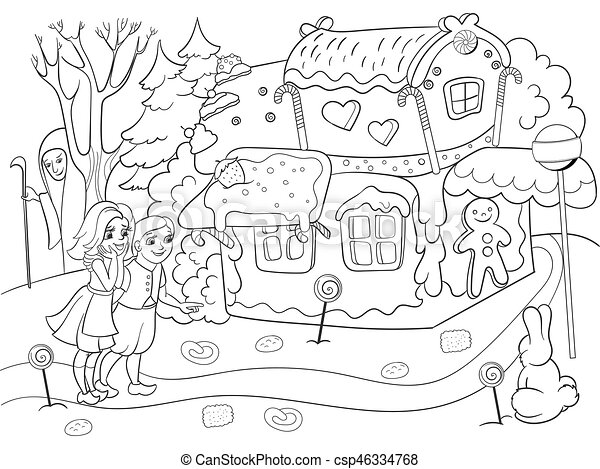 Childlike coloring vector story scene with pair of children eating some sweets near colorful cottage in deep forest - csp46334768