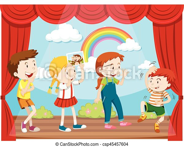 children acting on stage illustration rh canstockphoto com clipart acting out acting clipart