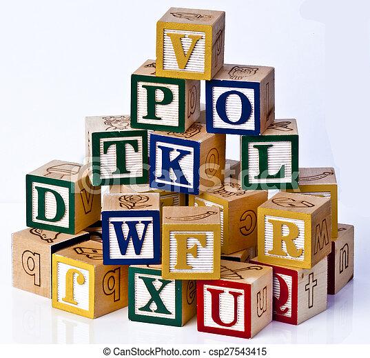 children alphabets blocks - csp27543415
