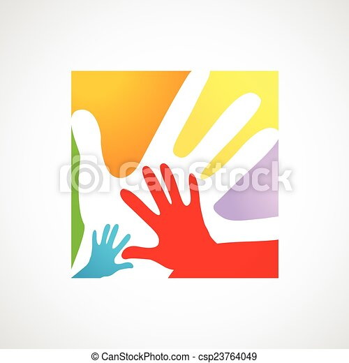 children and adults hands together - csp23764049