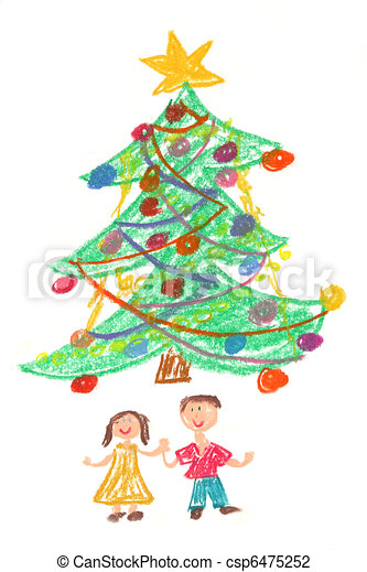 children and christmas tree drawing csp6475252