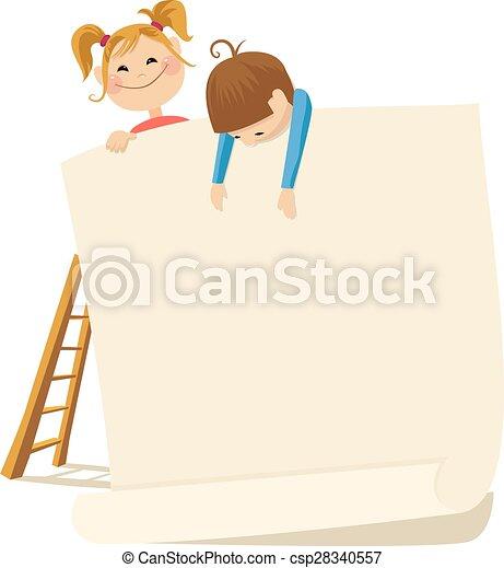 Children and poster - csp28340557