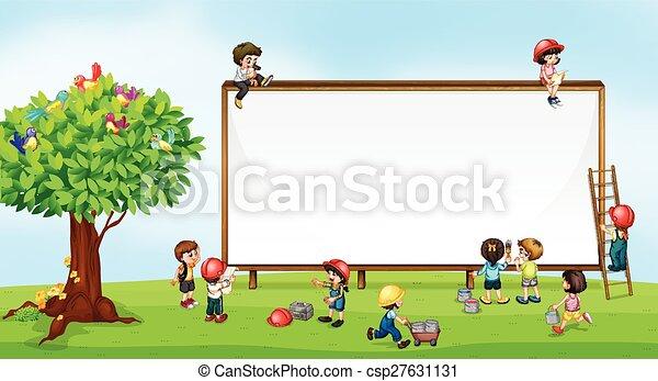 Children and sign - csp27631131