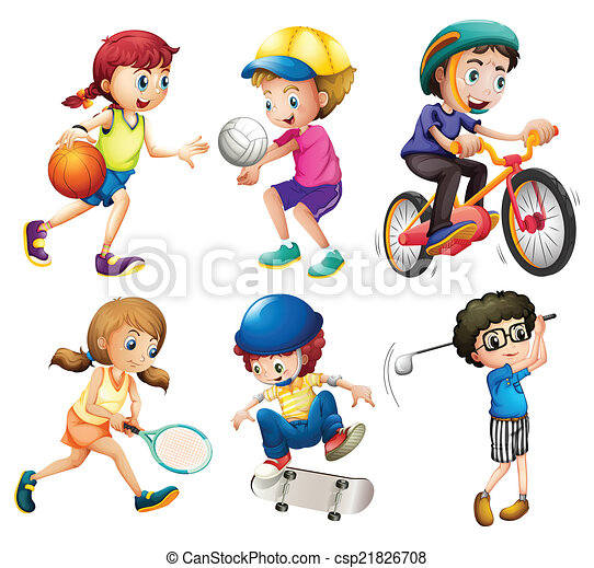children and sports illustration of children playing sports vector rh canstockphoto com sports clip art free images sports clipart black and white