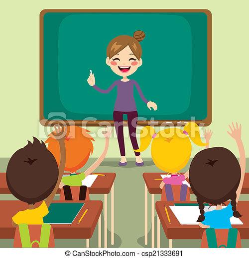Children And Teacher On Classroom - csp21333691