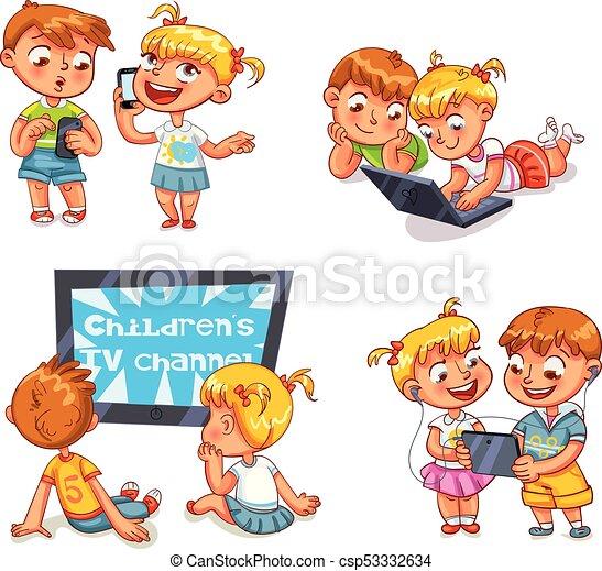 Children and technical progress. Funny cartoon character - csp53332634