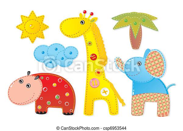 Children Applique 'Africa': elephant, hippopotamus and giraffe  - csp6953544