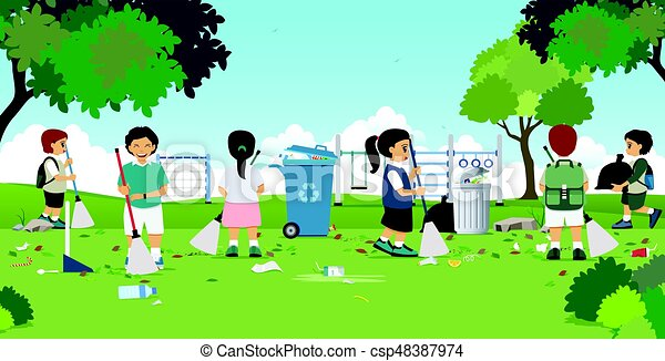 Children Are Cleaning In The Garden With A Playground