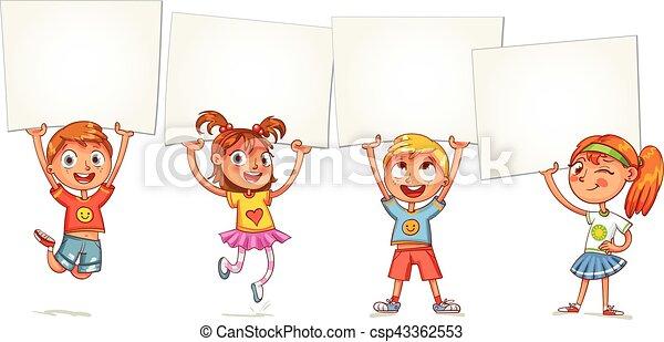 Children are raised up placard - csp43362553