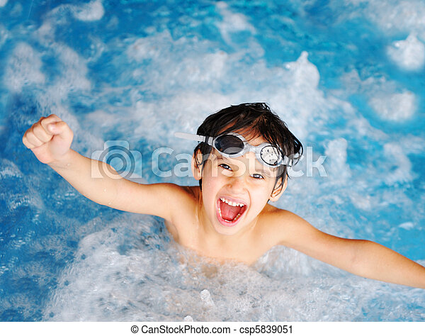 Children at pool, happiness and joy - csp5839051
