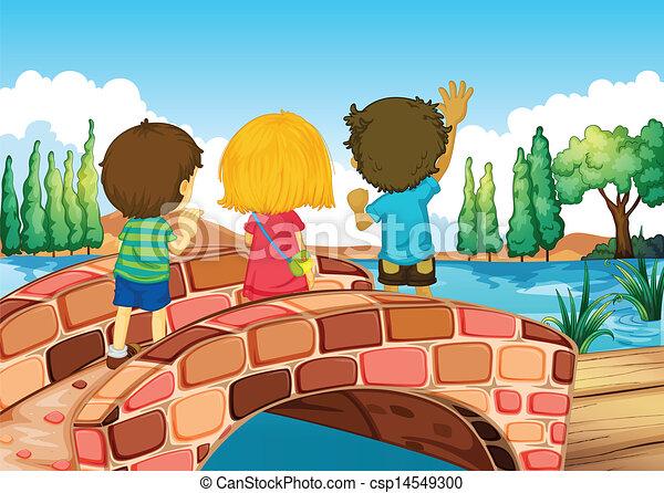 Children at the bridge. Illustration of the children at ...