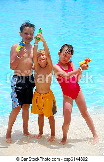 Children at the pool - csp6144892