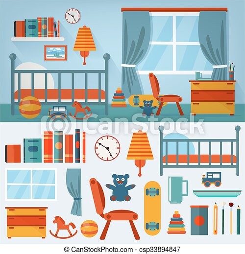 Children Bedroom Interior with Furniture and set of Toys - csp33894847