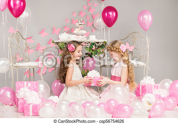 Children Birthday Party Girl Giving Present Gift Box Pink Balloons Decoration Happy Kids Celebrating Holiday