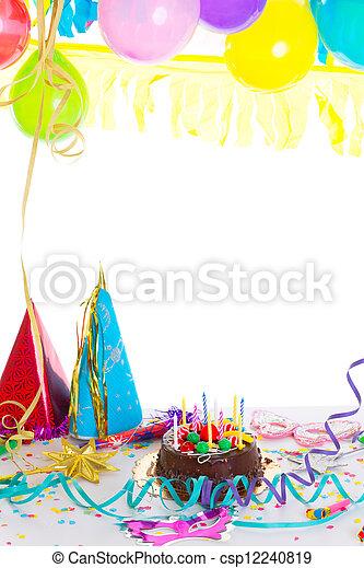 Children birthday party with chocolate cake - csp12240819