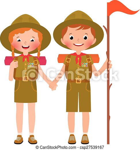 children boy and girl scouts vector illustration of clip art rh canstockphoto com boy and girl talking clipart boy and girl clipart images
