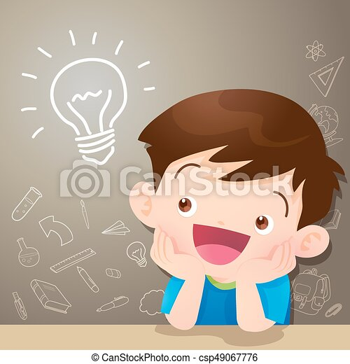 Children Boy Thinking Idea And Chalkboard Vector