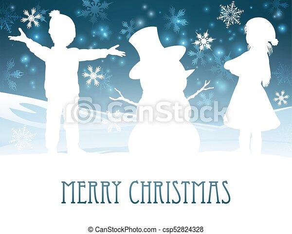 Christmas Scene Drawing For Kids.Children Building Snowman Christmas Scene