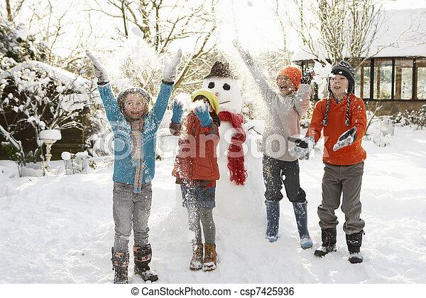 Children Building Snowman In Garden - csp7425936