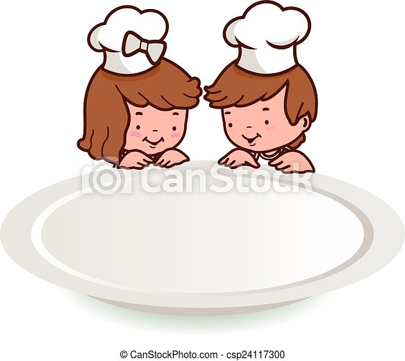 children chefs and empty plate  - csp24117300