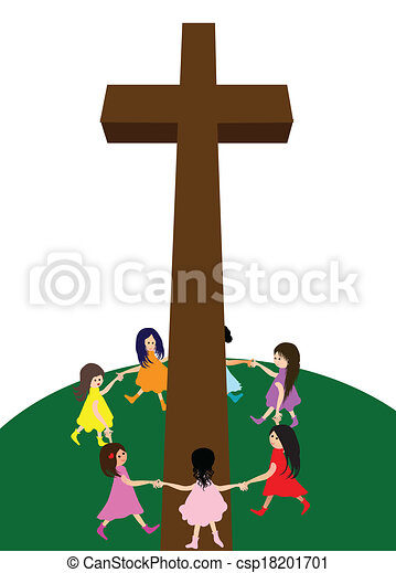 a group of children circle around a cross vector clipart search rh canstockphoto com celtic cross vector art free cross vector art