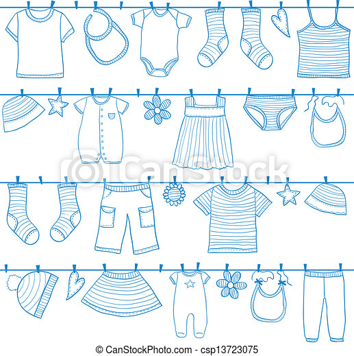 Children clothes on clothesline - csp13723075