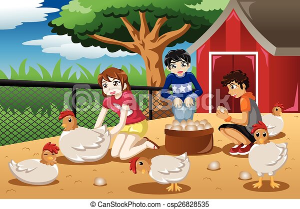 Children collecting eggs from the farm - csp26828535