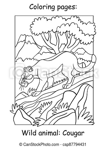 Children Coloring Book Page Cougar Vector Illustration Vector Coloring Pages Cougar Walking On A Tree In Mountain Area Canstock