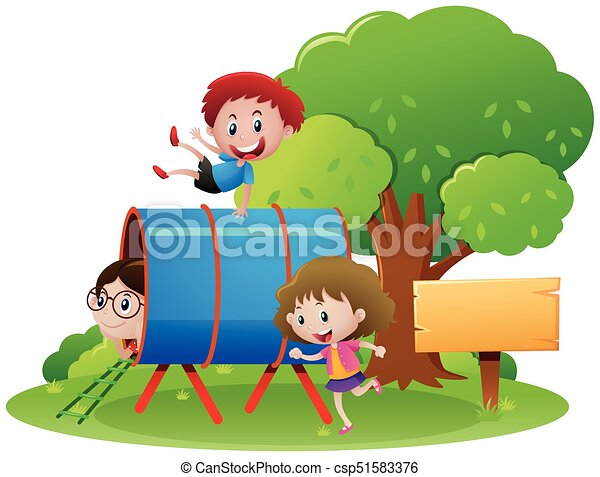 Children crawling through the tube - csp51583376