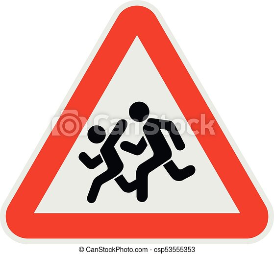 Children crossing the road icon, flat style. - csp53555353