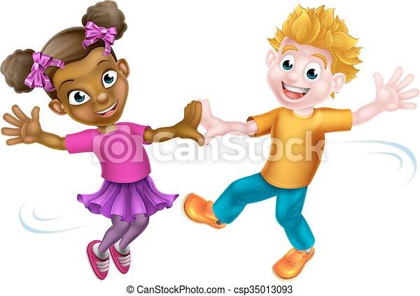 Children Dancing Two Cartoon Kids A White Boy And A Black Girl Dancing