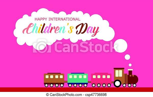 Children day with train style banner - csp47736698