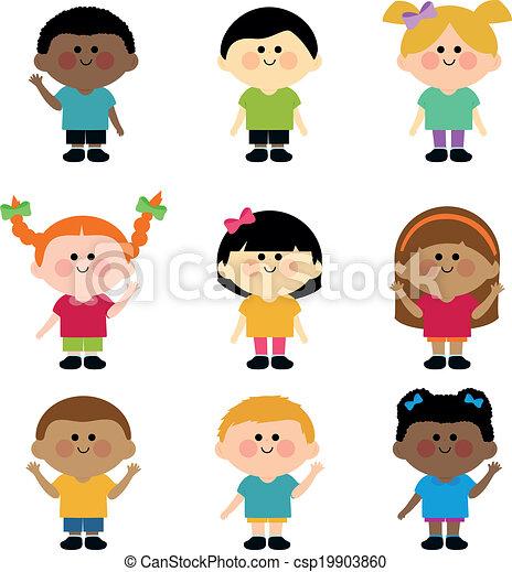 children., diverso, vettore, gruppo, illustrazione - csp19903860
