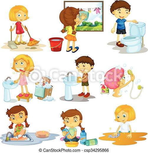 children doing different chores illustration rh canstockphoto com chore clip art for children chore clip art free