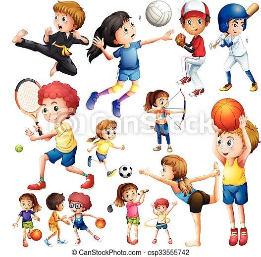 children doing different kind of sports illustration eps vector rh canstockphoto com