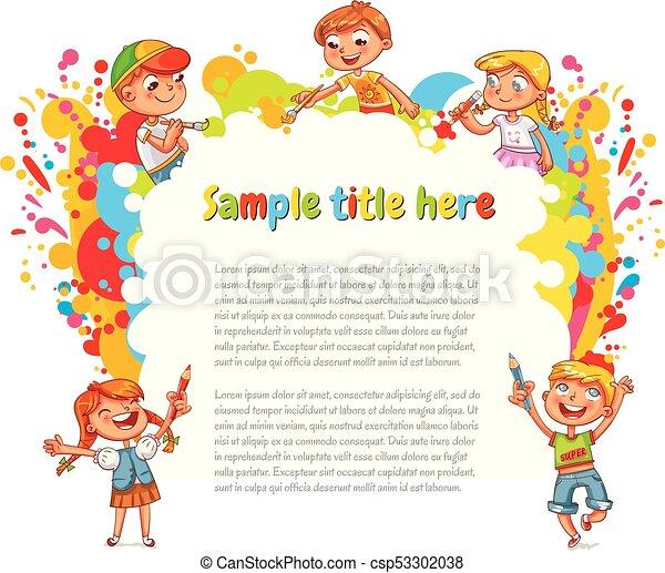 Children draw abstract spots - csp53302038