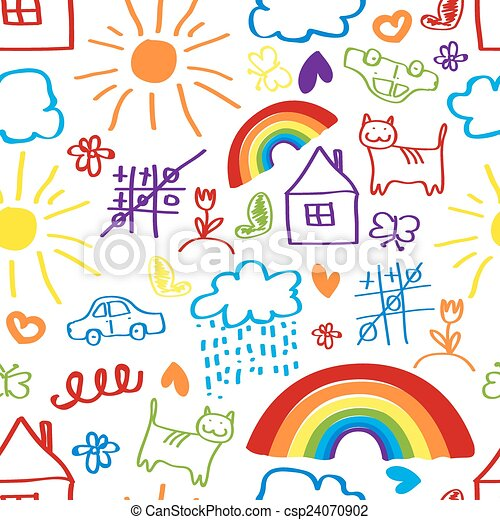 children drawing seamless pattern vector - Children Drawing Pictures For Painting