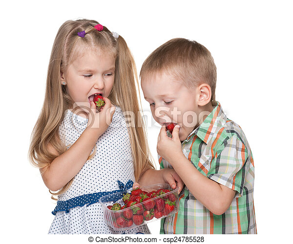 Children eat strawberry - csp24785528