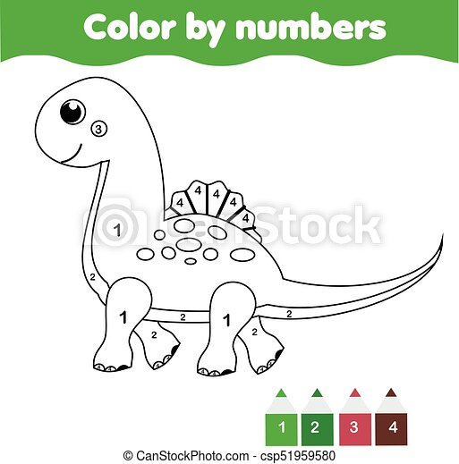 Children educational game. coloring page with cute dinosaur. color ...